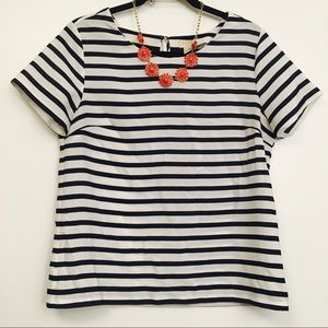 Navy and white striped j crew blouse